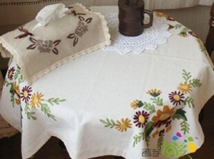 A56 方形盖布 棉麻鲁绣美式乡村小桌布 电脑盖布 立式空调盖布,桌布,