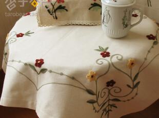 A67棉麻鲁绣田园方形多用桌布 台布 餐桌 布 电脑盖布 外贸,桌布,