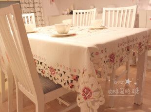 【满绣镂空】外贸出口 欧式贡缎 刺绣布艺 茶几布 圆桌布 餐桌布,桌布,
