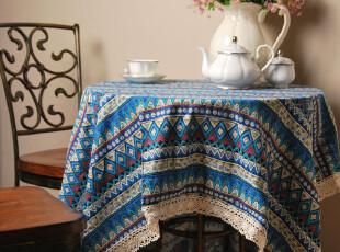 靠包先生 波西米亚棉麻蓝色几何桌布1.8m全国包邮,桌布,
