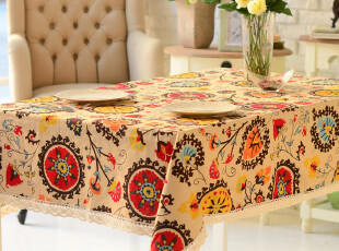 奇居良品 加厚全棉麻桌布桌旗台布餐桌布茶几布 地中海,桌布,