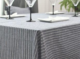 慕布卡 精品棉麻/绿色天然/低调奢华/桌布台布盖布/蓝条纹/可定制,桌布,