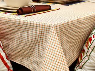 致惠餐桌布布艺田园时尚桌布台布茶几布竹节棉茶几桌布雅致方格子,桌布,