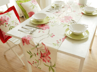 【甜美田园风】双面双色,桌旗,床旗 平头 ---瑞丽莺歌,桌布,