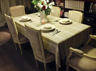 【吉屋】贝思3 亚麻布艺桌布 台布 盖布 餐桌布 格子桌布,桌布,