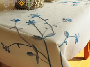 棉麻鲁绣田园标准六人桌布A12 台布 餐桌 布 外贸美式乡村盖布,桌布,