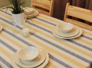 诺迈迪 海瑟系列宽条纹纯棉桌布 台布 餐桌布 盖布 蓝黄,桌布,