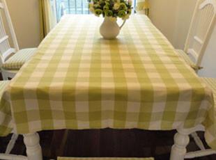 高档棉麻绿色格子田园 桌布 布艺特价 茶几布台布盖布 餐桌布包邮,桌布,