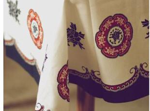 传统蓝印花桌布 古典图案餐桌布,桌布,