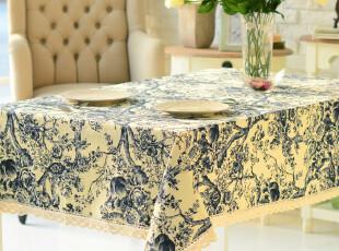 奇居良品 加厚全棉麻桌布桌旗台布餐桌布茶几布 青花001,桌布,