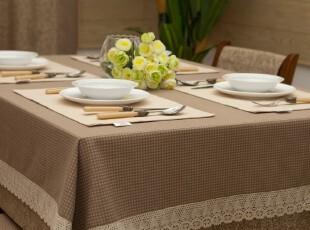 美式田园乡村 布艺桌布台布餐桌布盖布茶几布 灰咖色,桌布,