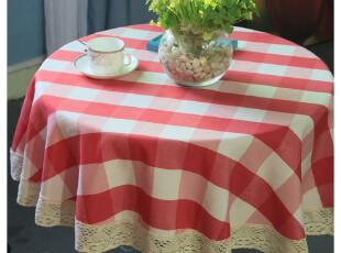 纯棉亚麻布红白格子田园 圆桌布 台布 茶几布 桌旗 布艺外贸 包邮,桌布,