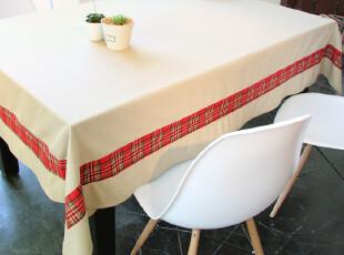 【吉屋】依诺 卡其色织纯棉 桌布 台布 餐桌布 盖布 拼接版,桌布,