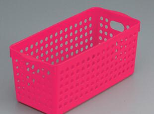 日本inomata 收纳盒 桌面收纳篮 置物收纳框筐 整理盒 玫红 4572,桌面收纳,