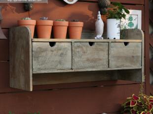 论坛预售【庭院时光】法式乡村复古旧木B款三抽壁挂花架/桌面收纳,桌面收纳,