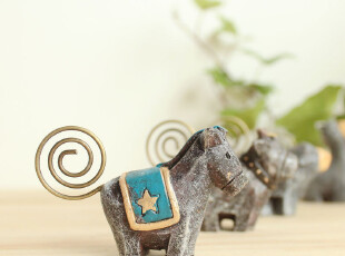 原创可爱 动物名片夹 便签夹 留言夹 zakka 杂货 桌面收纳 4款入,桌面收纳,