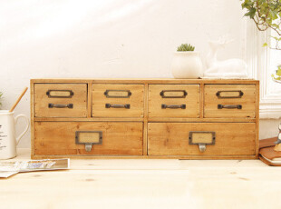 zakka 风格 做旧木制六抽横式收纳柜 杂物收纳 桌面收纳 可挂,桌面收纳,