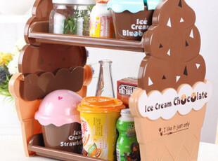 韩版可爱雪糕双层置物架 收纳架 整理架 杂物 桌面收纳 多款可选,桌面收纳,