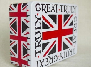 UK英国|英格兰米字旗-一圈字 带钥匙带锁铁盒 桌面收纳大铁盒,桌面收纳,