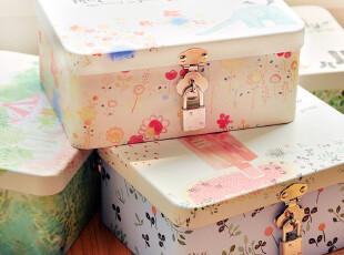 韩国文具 可爱手绘 清新物语 带锁 马口铁 桌面收纳铁盒 4款,桌面收纳,