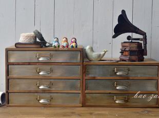 BAO ZAKKA 杂货 旧木 烙铁 抽屉 桌面收纳小柜 2款可选,桌面收纳,