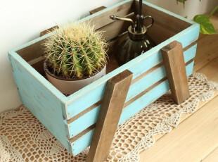 复古实木木质 田园地中海 花卉盆栽收纳盒 收纳架 杂物桌面收纳筐,桌面收纳,