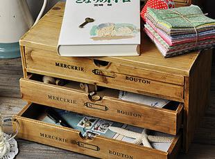 zakka 杂货 实木 复古做旧 桌面收纳柜 文件柜 杂物柜 2款,桌面收纳,