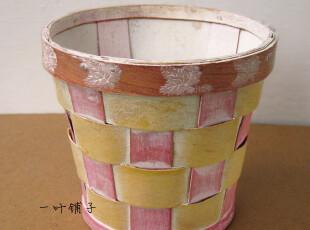 zakka 杂货 外贸样单 乡村田园风 竹木编织桌面收纳桶 纸篓B3,桌面收纳,