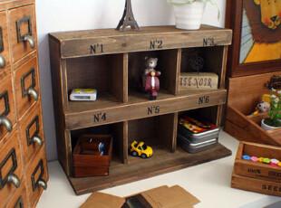 日式杂货zakka收纳木柜/复古原木质置物架/创意桌面收纳柜/储物盒,桌面收纳,