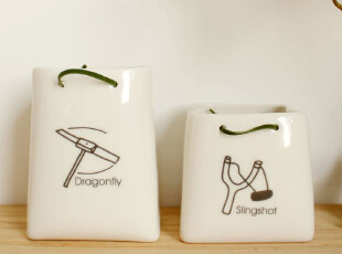 zakka 陶瓷纸袋 办公用品 桌面收纳 花瓶 笔筒 可爱花器 创意礼品,桌面收纳,