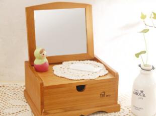 zakka风 化妆盒 首饰盒带镜子 杂物收纳 桌面收纳,桌面收纳,
