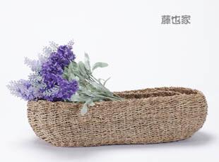 日式麻绳编织桌面收纳整理框 素色长方形收纳篮 杂物办公桌整理篮,桌面收纳,