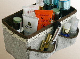 【7折4月惠】织布花边护肤品收纳盒 桌面收纳化妆品收纳箱整理箱,桌面收纳,
