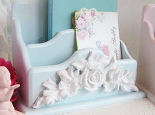 『韩国网站代购』漂亮浮雕玫瑰木质桌面收纳架遥控器收纳盒,桌面收纳,