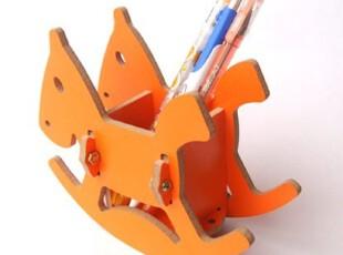 创意可爱笔筒 木制 木马创意办公桌面收纳 个性礼品摆设-BWJ0018,桌面收纳,
