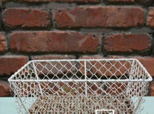 CORNER ZAKKA杂货 草编底铁网盆长方形 桌面收纳篮/收纳盒,桌面收纳,