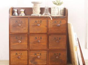 九抽屉复古 收纳柜 整理柜 杂物收纳 zakka 桌面收纳 可挂,桌面收纳,