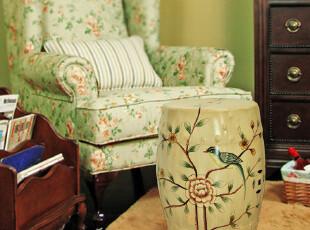 包邮!美式乡村新中式梳妆凳换鞋凳边几手绘花鸟陶瓷鼓凳3款,椅凳,