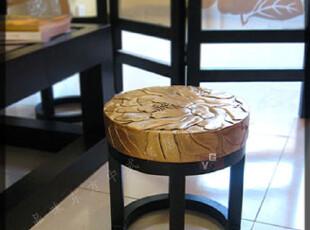 新中式古典韵味家具 中国风 花影矮凳 换鞋凳 花开富贵凳几 热卖,椅凳,