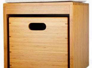 百孚精品竹家具 时尚单人床边凳 床尾凳 储物收纳凳,椅凳,