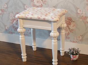 简约家居饰品 韩式白色田园风格小碎花梳妆凳 换鞋凳 实木凳特价,椅凳,