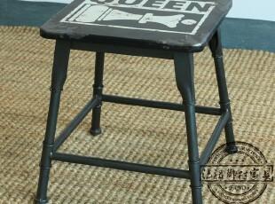 法诺乡村家具 铁艺做旧 黑色方凳D005 现货,椅凳,