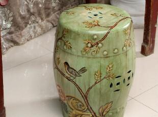 外贸手绘陶瓷家具古凳鼓凳创意花鸟图案古典鼓墩绣墩 喜鹊飞枝头,椅凳,