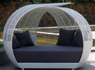 依你家居 户外田园藤家具 休闲躺椅 双人藤躺床藤椅鸟巢床A2008,椅凳,