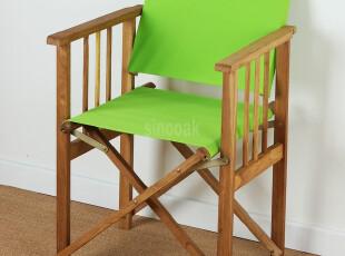 外贸尾单户外休闲纯实木橡木柞木折叠导演椅沙滩椅钓鱼帆布咖啡椅,椅凳,