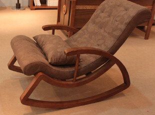 北欧人家 宜家胡桃色实木家具午休躺椅 摇椅 休闲椅 脚踏 包邮681,椅凳,