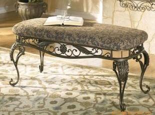 铁艺椅子 落地式沙发椅子 换鞋凳 床尾凳 包坐垫凳子 床尾凳0066,椅凳,