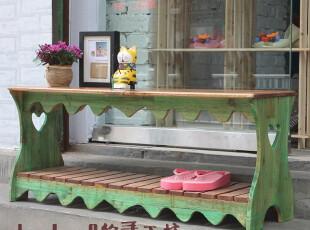 DuoDuo.Q 地中海风格换鞋凳 复古怀旧风 实木手工打造【预订】,椅凳,