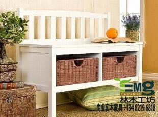【林木工坊】比邻乡村 美式家具 地中海风格家具 实木家具 换鞋凳,椅凳,