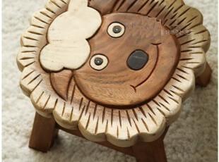 『韩国进口家居』A441 我是大狮子*可爱儿童实木凳子,椅凳,